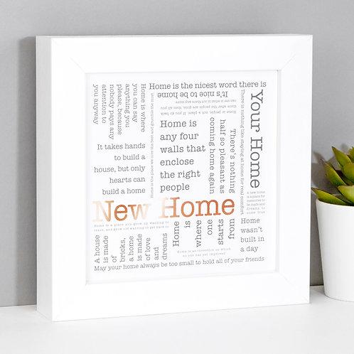 New Home Word Cloud Framed Print x 3