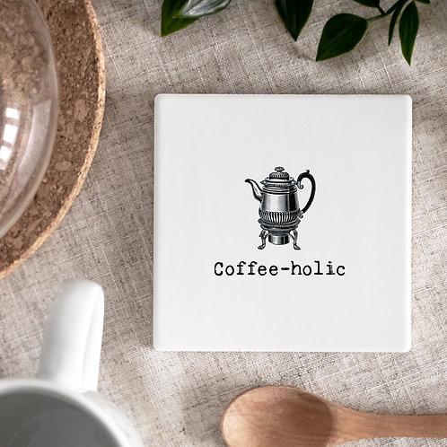 Coffeeholic Vintage Style Ceramic Coaster