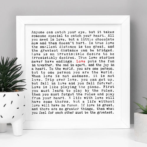 Love | Wise Words Romantic Quotes Print for Couples