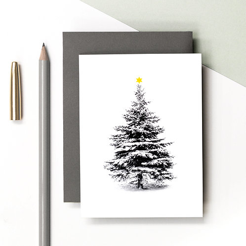 Mini Snow Covered Christmas Tree Card x 6