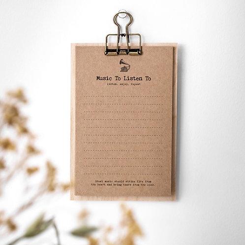 Music List Notecards on Mini Clipboard