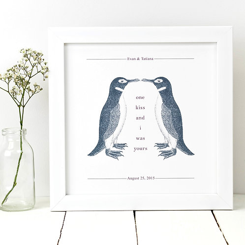 Penguins 'One Kiss And I Was Yours' Love Print