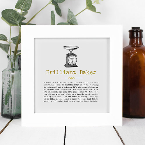 Brilliant Baker Personalised Framed Quotes Print