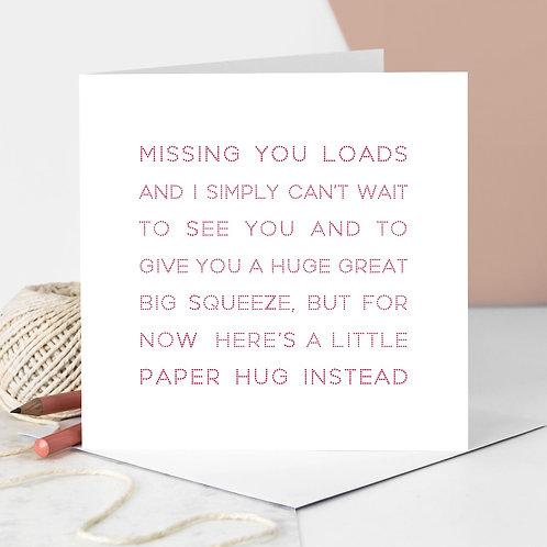 Valentine's Day Paper Hug Card for Lockdown