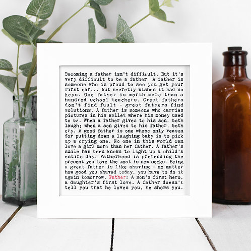 Father Quotes Framed Print in a Gift Box