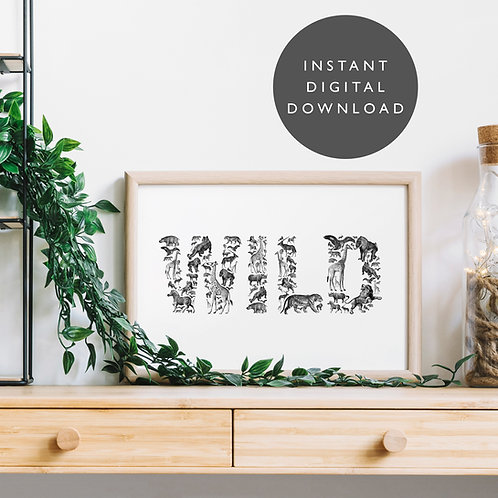 Vintage Animals WILD A4 Printable Wall Art [DOWNLOAD ONLY]