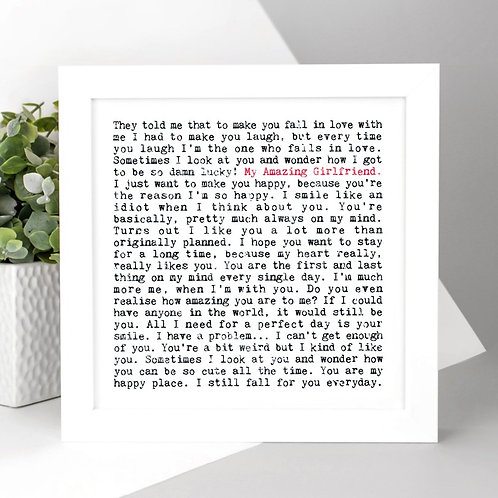 Amazing Girlfriend Love Quotes Print for Her