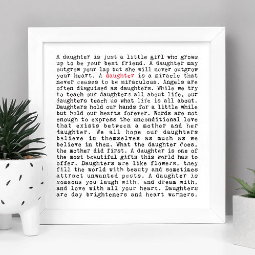 Daughter Wise Words Quotes Print x 3