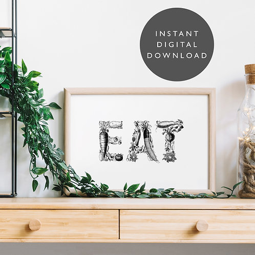 Vintage Food EAT A4 Printable Wall Art [DOWNLOAD ONLY]