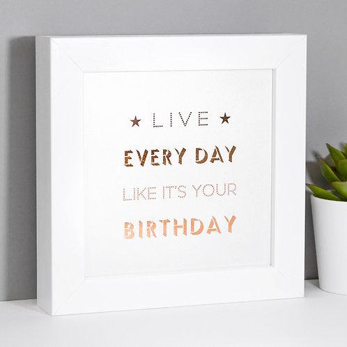 Birthday Vibes Pearlescent Framed Print