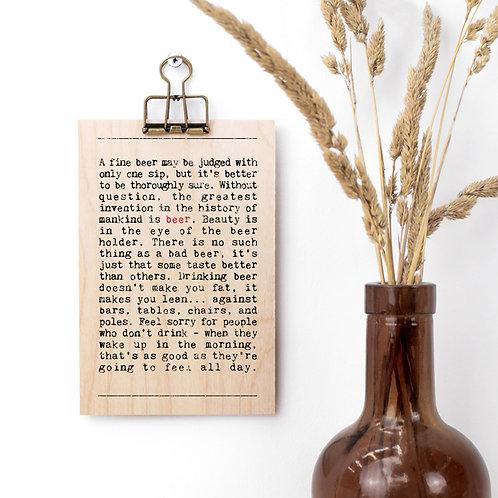 Beer Wise Words Wooden Plaque with Hanger x 3