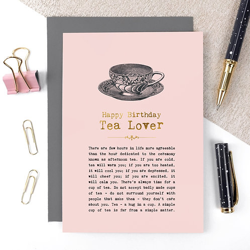 Tea Lover Luxury Foil Birthday Card with Quotes