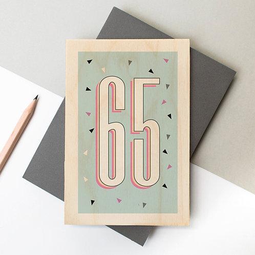 65th Birthday Funky Confetti Wooden Age Card