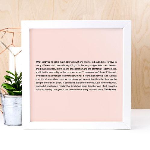 What is Love? Pink Poem Print