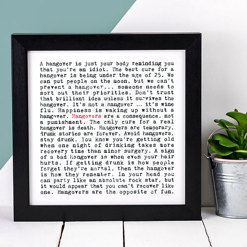 Hangovers Wise Words Quotes Print