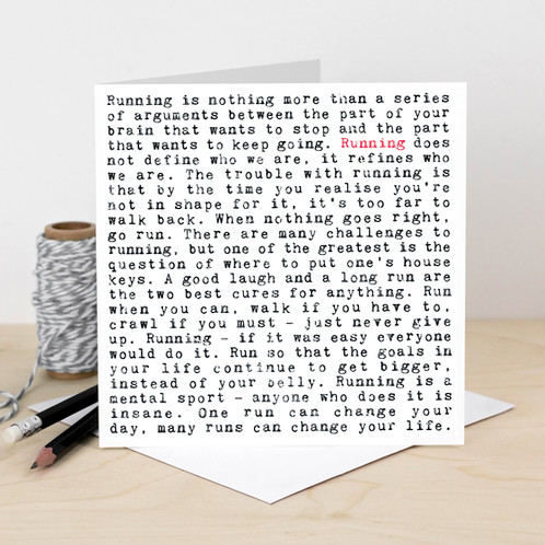 This One Is For The Marathon Runners A Unique Greeting Card In Striking Black And Red Design With Typewriter Font Featuring Lots Of Inspiring