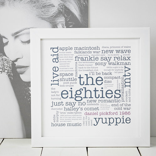 30th Birthday Gift 'Eighties' Decade Personalised Print