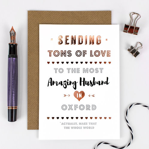 Tons of Love | Rose Gold Personalised Card x 6