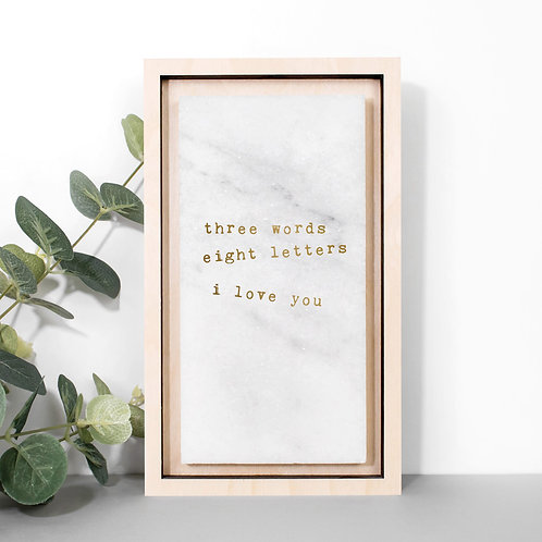 Three Words Gold Marble Love Print x 3