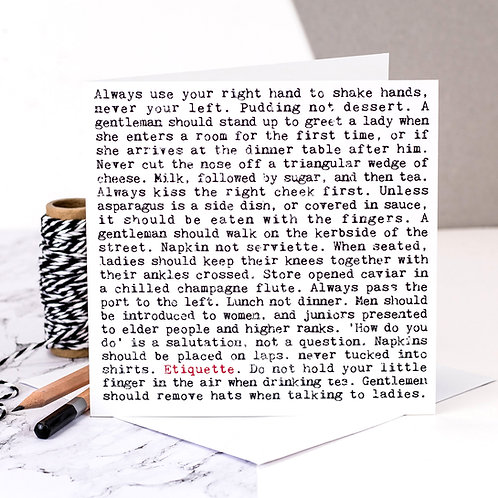 Etiquette Wise Words Quotes Card