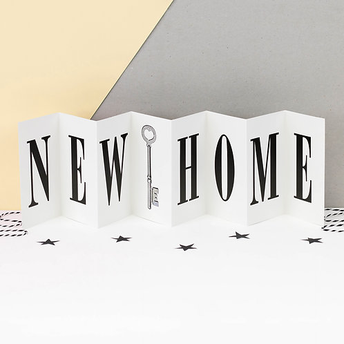 New Home Monochrome Vintage Key Concertina Card
