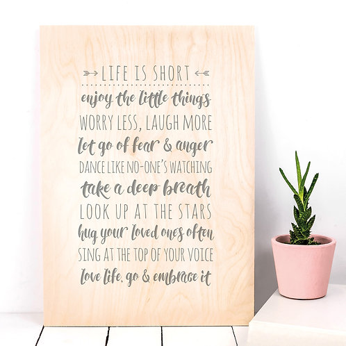 Life List Inspiring Quotes Wooden Plaque