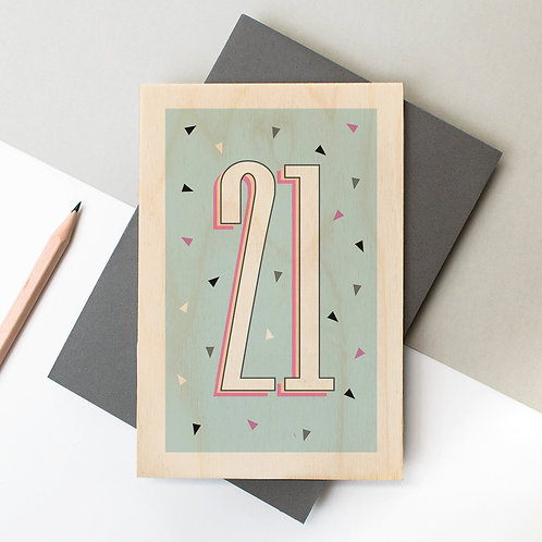 Age/Number Funky Confetti Wooden Greeting Card x 6