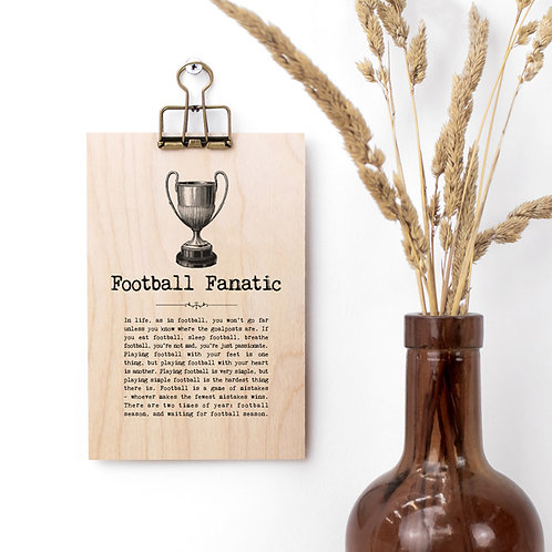 Football Quotes Wooden Sign with Hanger