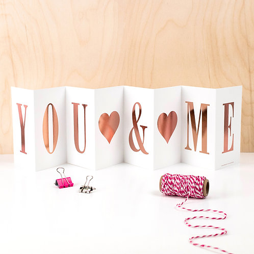 Anniversary 'YOU AND ME' Foil Concertina Card