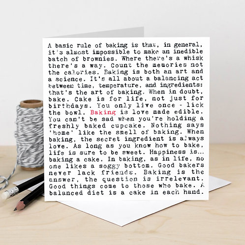 Baking Wise Words Quotes Card