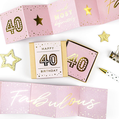Matchbox Fabulous 40th Birthday Pink and Gold Concertina Card