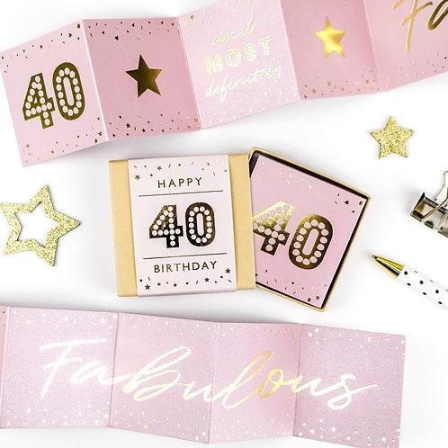 Fabulous | 40th Birthday Metallic Boxed Concertina x 3