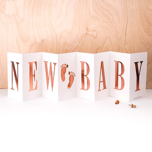 New Baby Personalised Metallic Rose Gold Foil Concertina Card