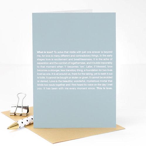 What is Love? Steel Grey Anniversary Poem Card