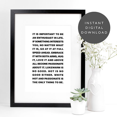 Inspiring Roald Dahl Quote A4 Printable Wall Art [DOWNLOAD ONLY]