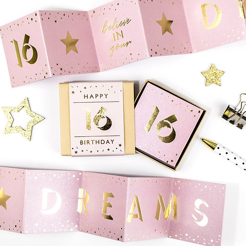 Believe in your Dreams | 16th Birthday Metallic Boxed Concertina x 3