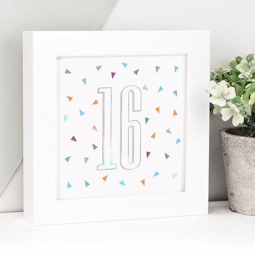 Number/Age Holographic Framed Print x 3