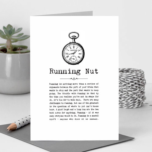 Running Nut Vintage Words Greeting Card x6