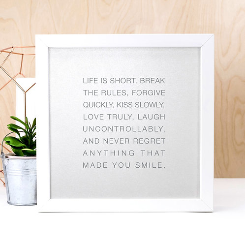 Life is Short | Silver Typographic Quote Print
