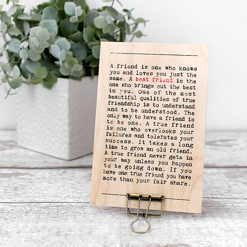 Best Friend Quotes Wooden Sign with Hanger