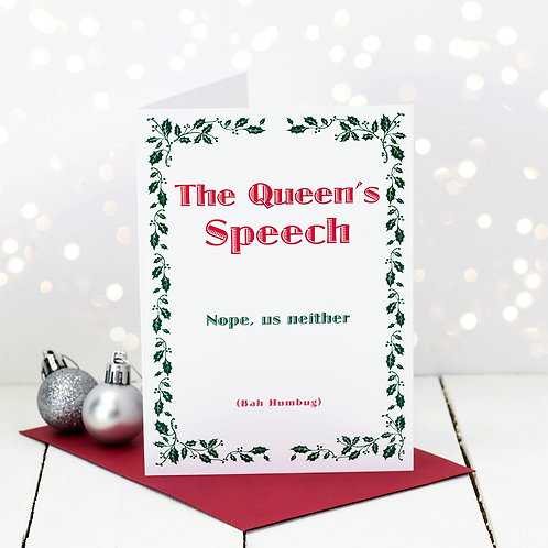 Bah Humbug Queen's Speech Christmas Card x 6