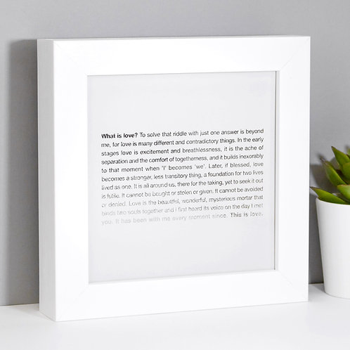 What is Love? Framed Mini Silver Grey Poem Print