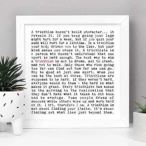 Triathlon Wise Words Quotes Print x 3