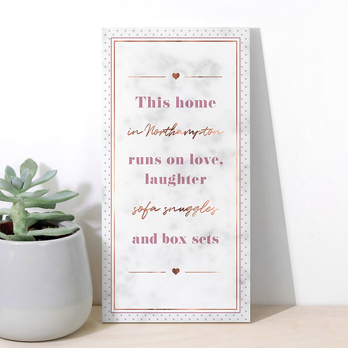 Love, Laughter and Box Sets Personalised Marble Home Plaque x 3