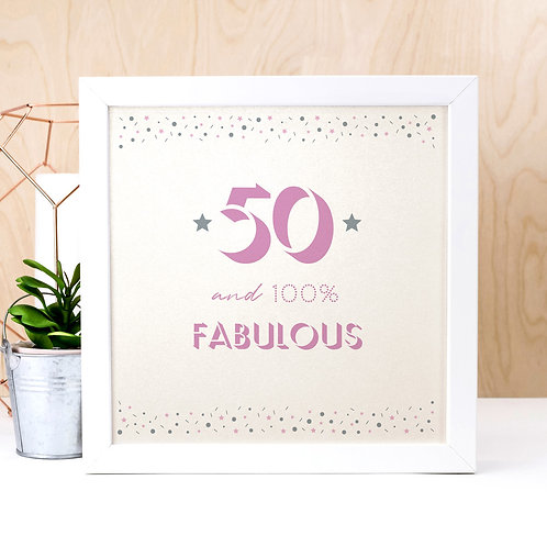 50 and Fabulous Pearl Square Print x 3