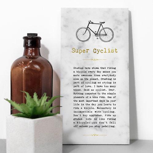 Super Cyclist Vintage Marble Stone Plaque x 3
