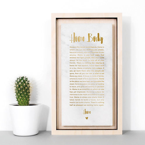 Home Body Marble and Gold Quotes Plaque