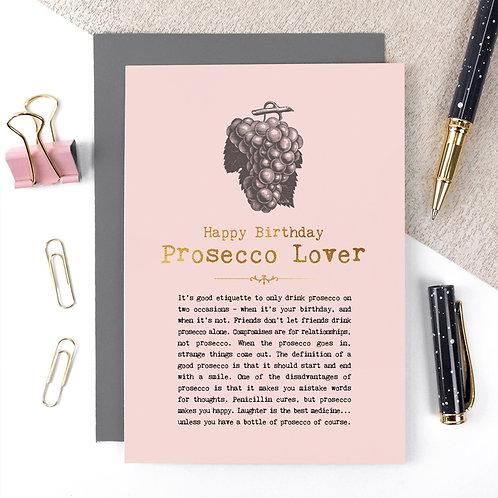Prosecco Lover Vintage Foil Birthday Card x 6