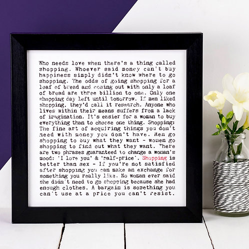 Shopping Wise Words Quotes Print