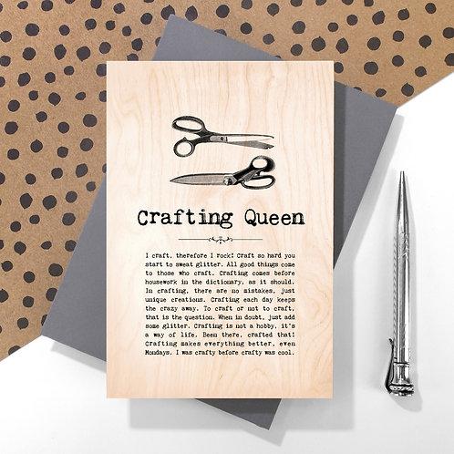 Crafting Queen Mini Wooden Plaque Card x 6